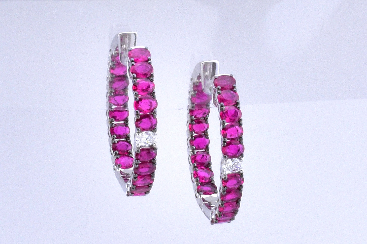 Over 6 Carats Total Weight Ruby Inside/Out Hoop Earrings