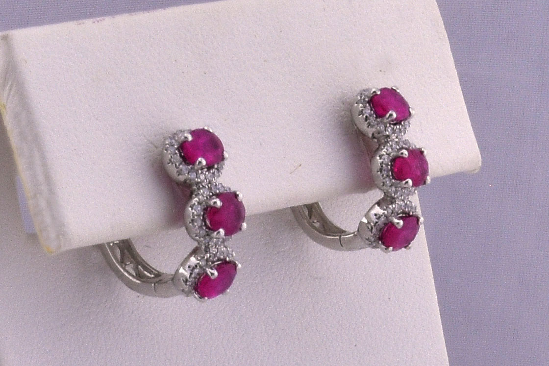 Almost 2 Carats Total Weight Ruby Hoop Earrings