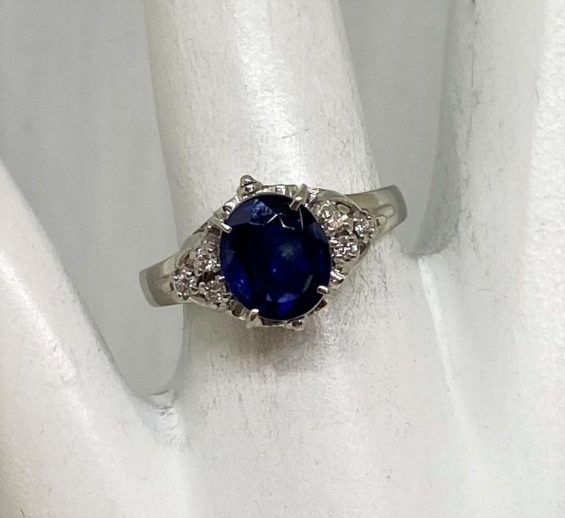 Over 1.50 Carats Platinum Sapphire Ring
