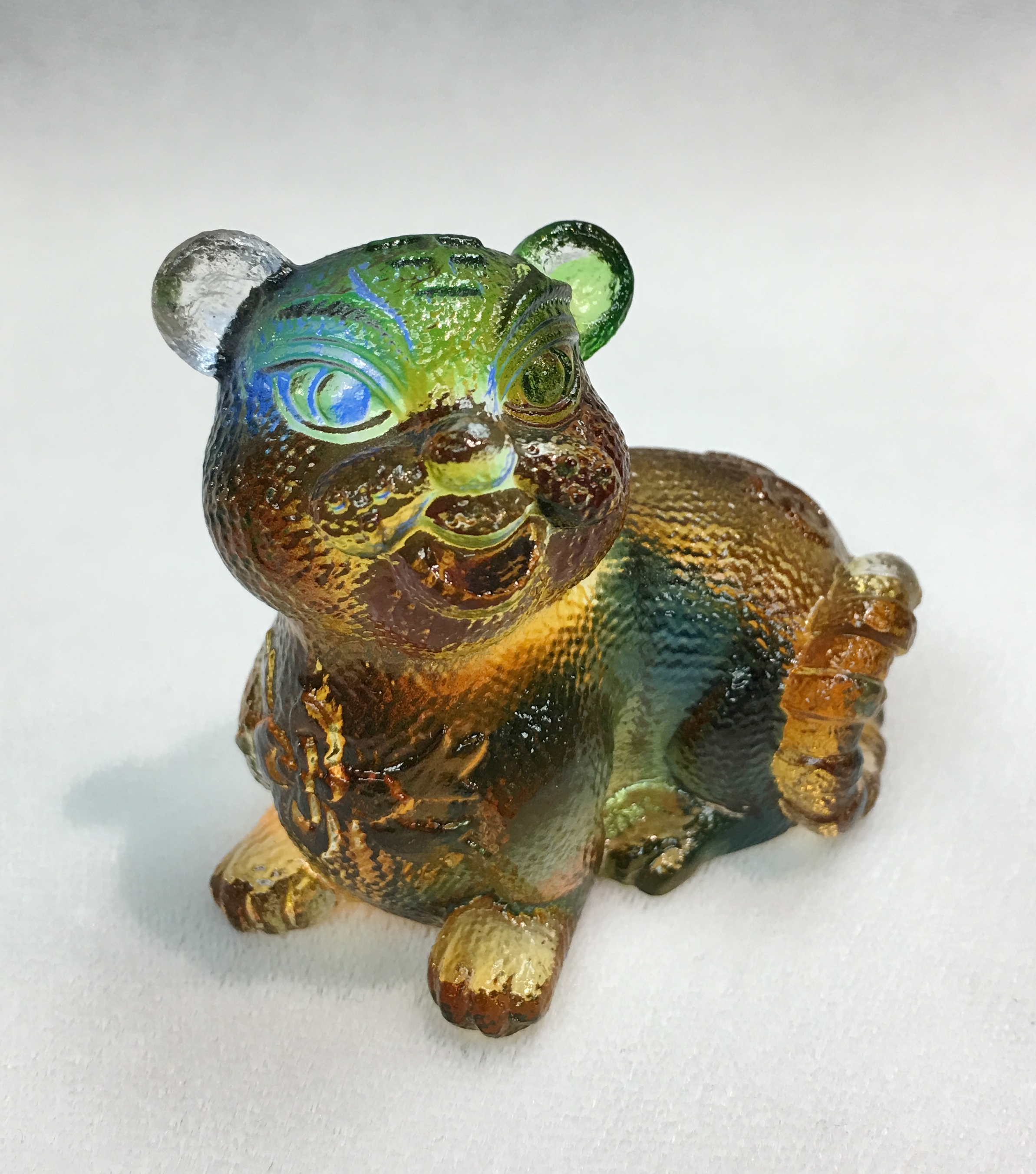 Liuli Chinese Glass Tiger Sculpture