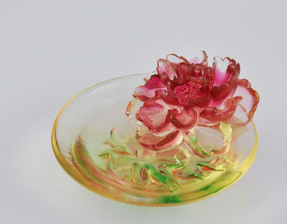Liuli Chinese Glass Flower Dish 富貴緣