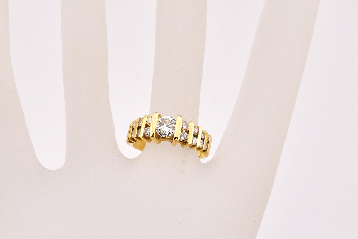 Sparkling 14K Yellow Gold Diamond Ring