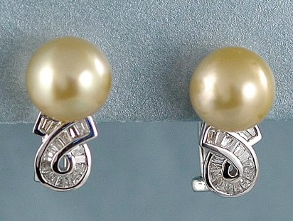 14K WG Golden South Sea Pearl and Diamond Earrings