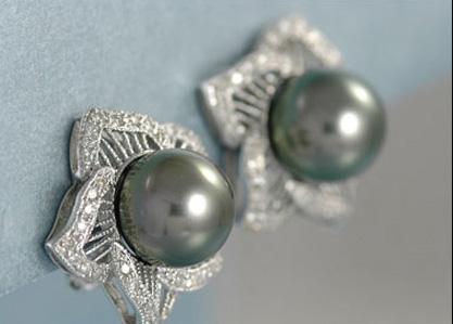 Beautiful 14K White Gold Tahitian Pearl and Diamond Earrings