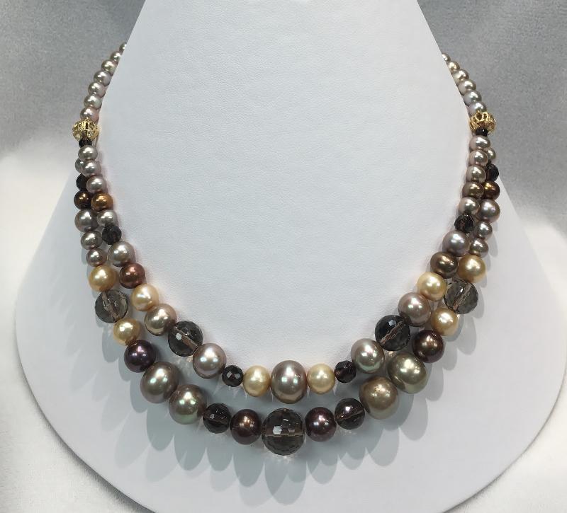 14K Yellow Gold Pearls & Quartz Necklace