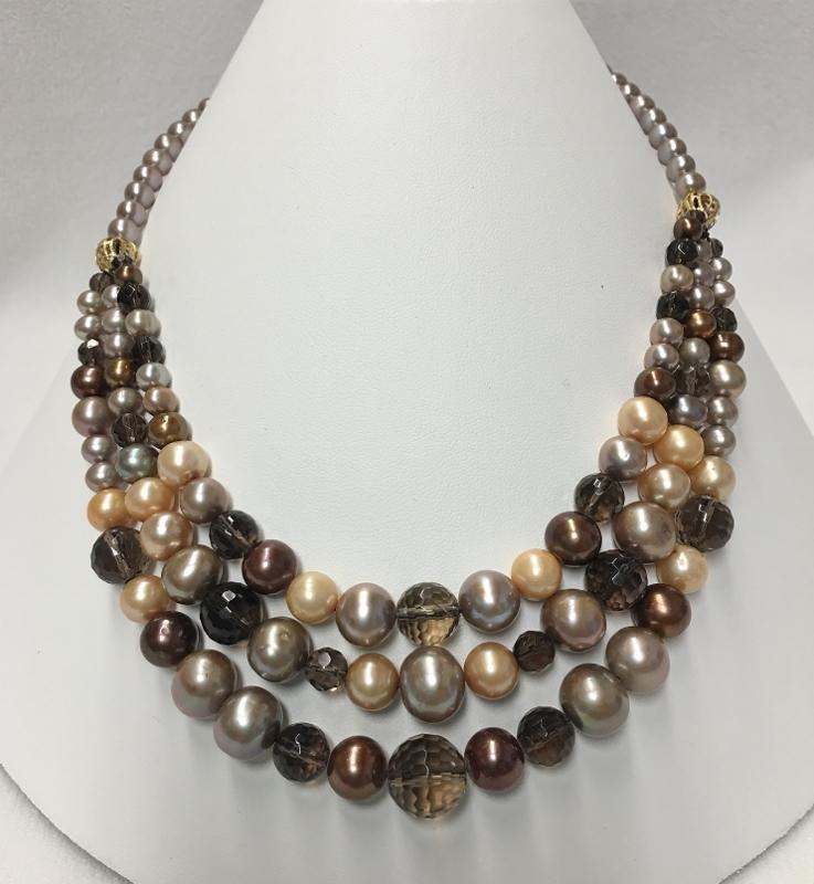 Amazing 14K Yellow Gold Mixed Stone Necklace