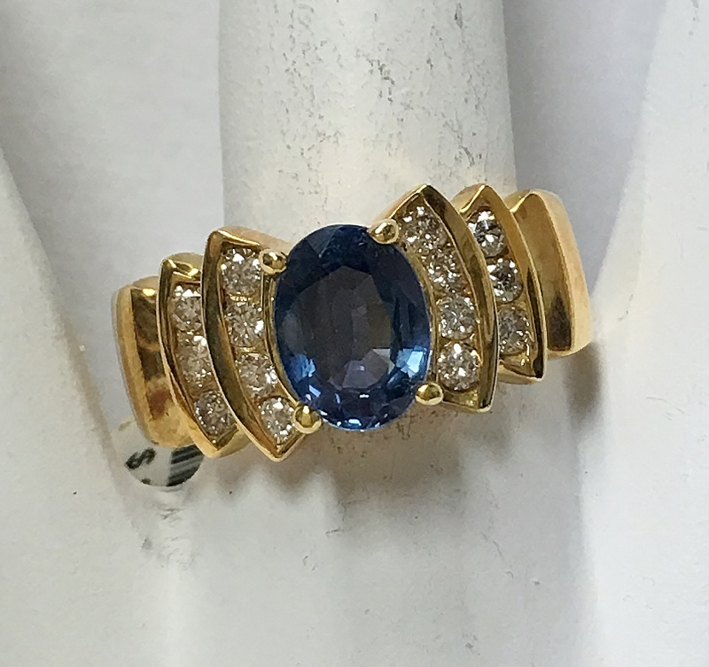 Lovely 18K Yellow Gold Sapphire and Diamond Ring