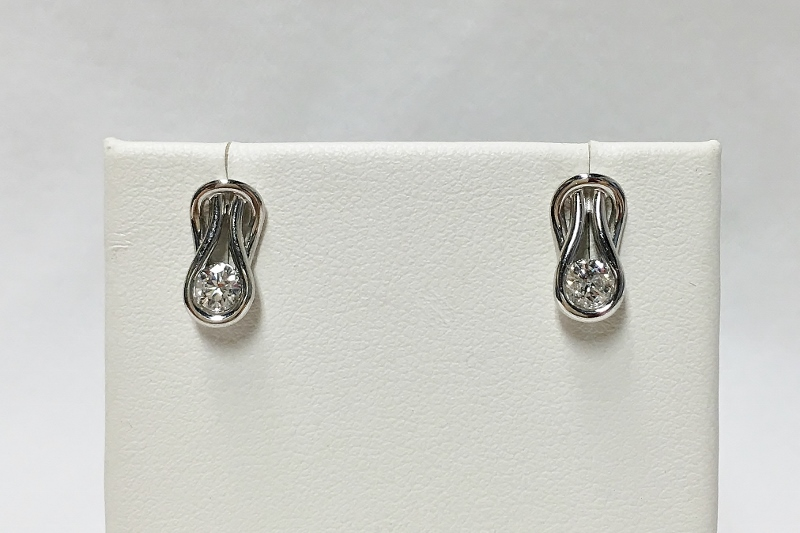 Lovely 14K White Gold Diamond Earrings