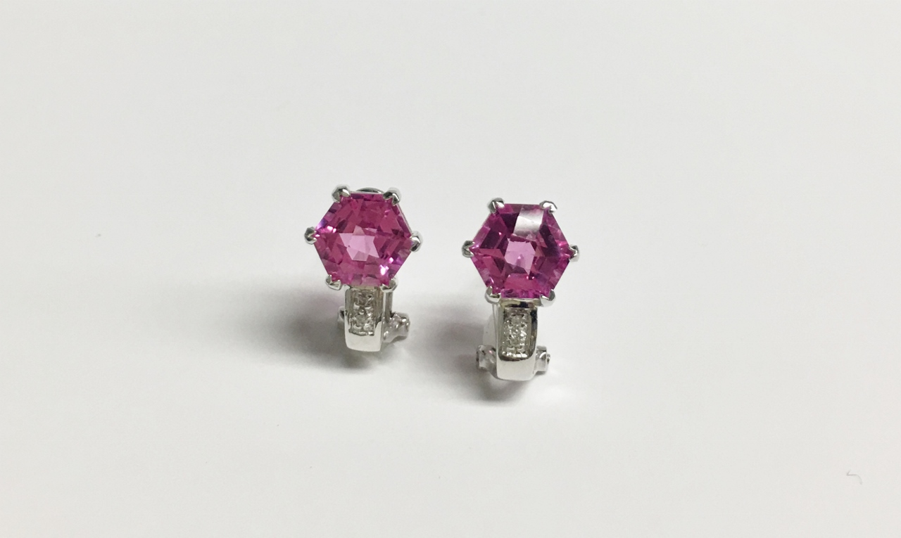 4 Carats Pink Topaz White Gold Earrings