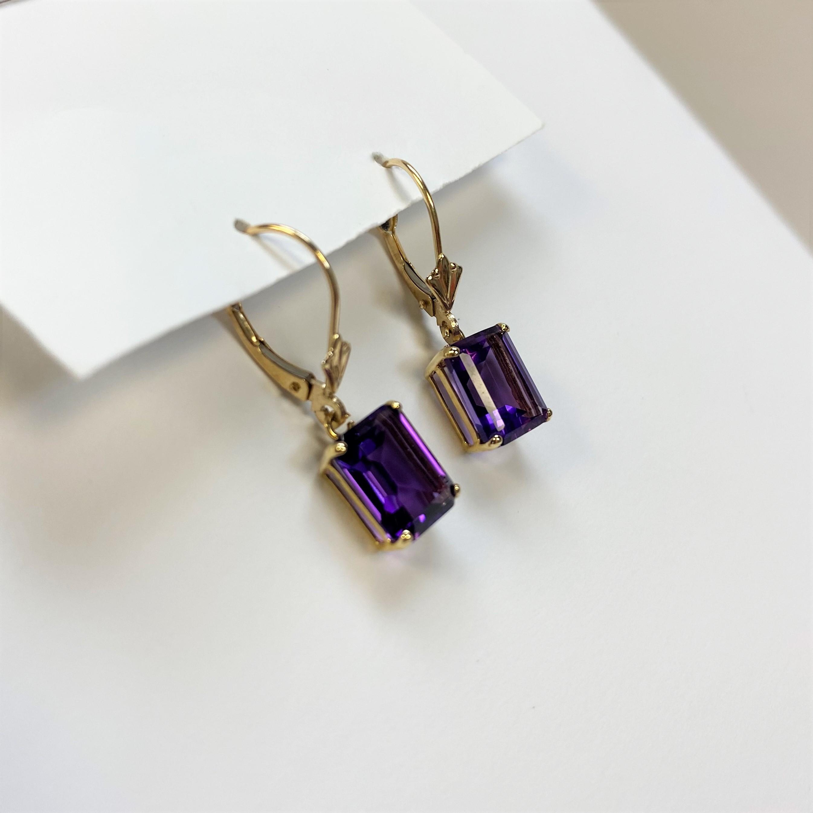 3.0 Carats Amethyst Yellow Gold Earrings
