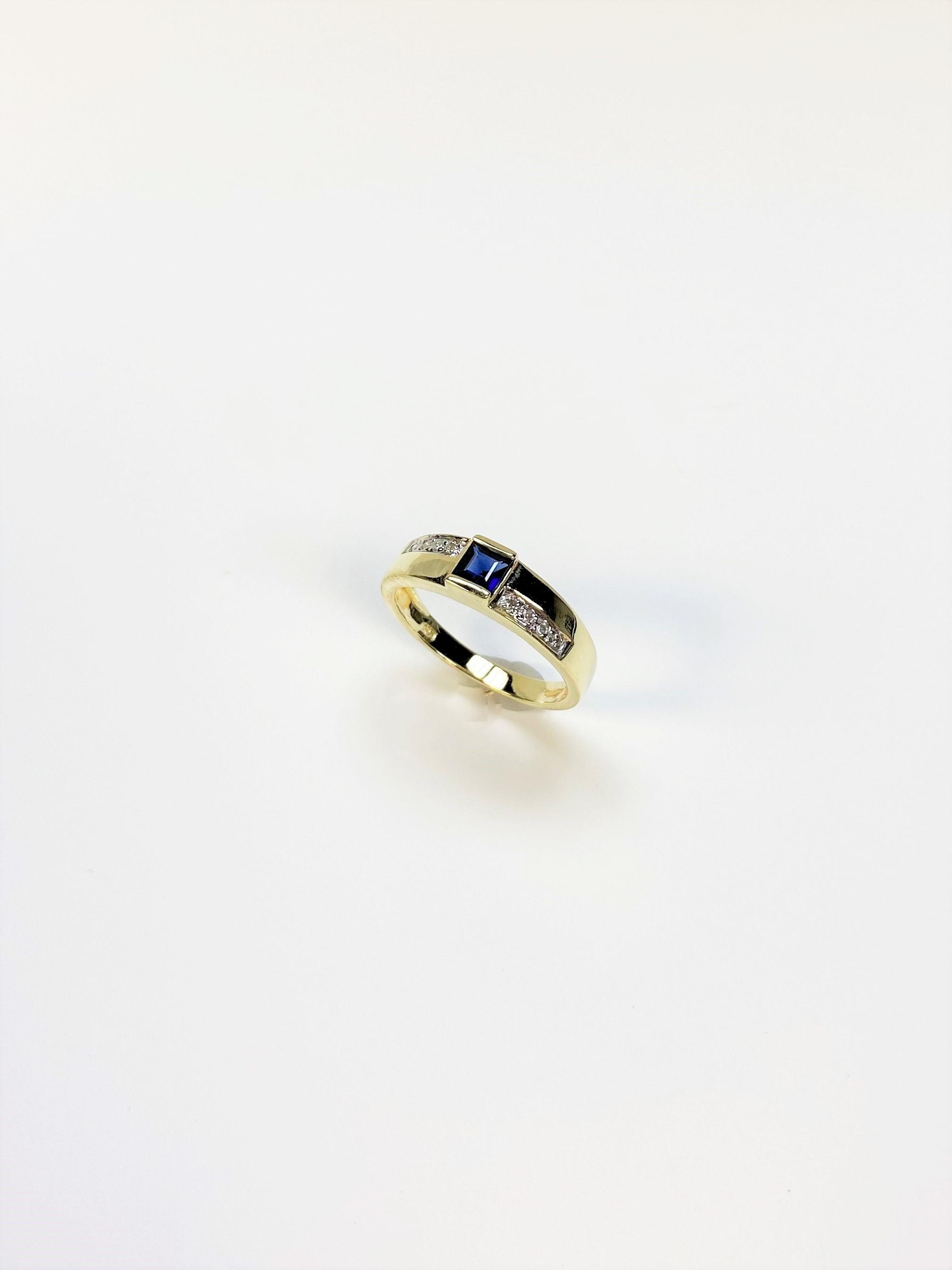Quarter Carat Sapphire Yellow Gold Band