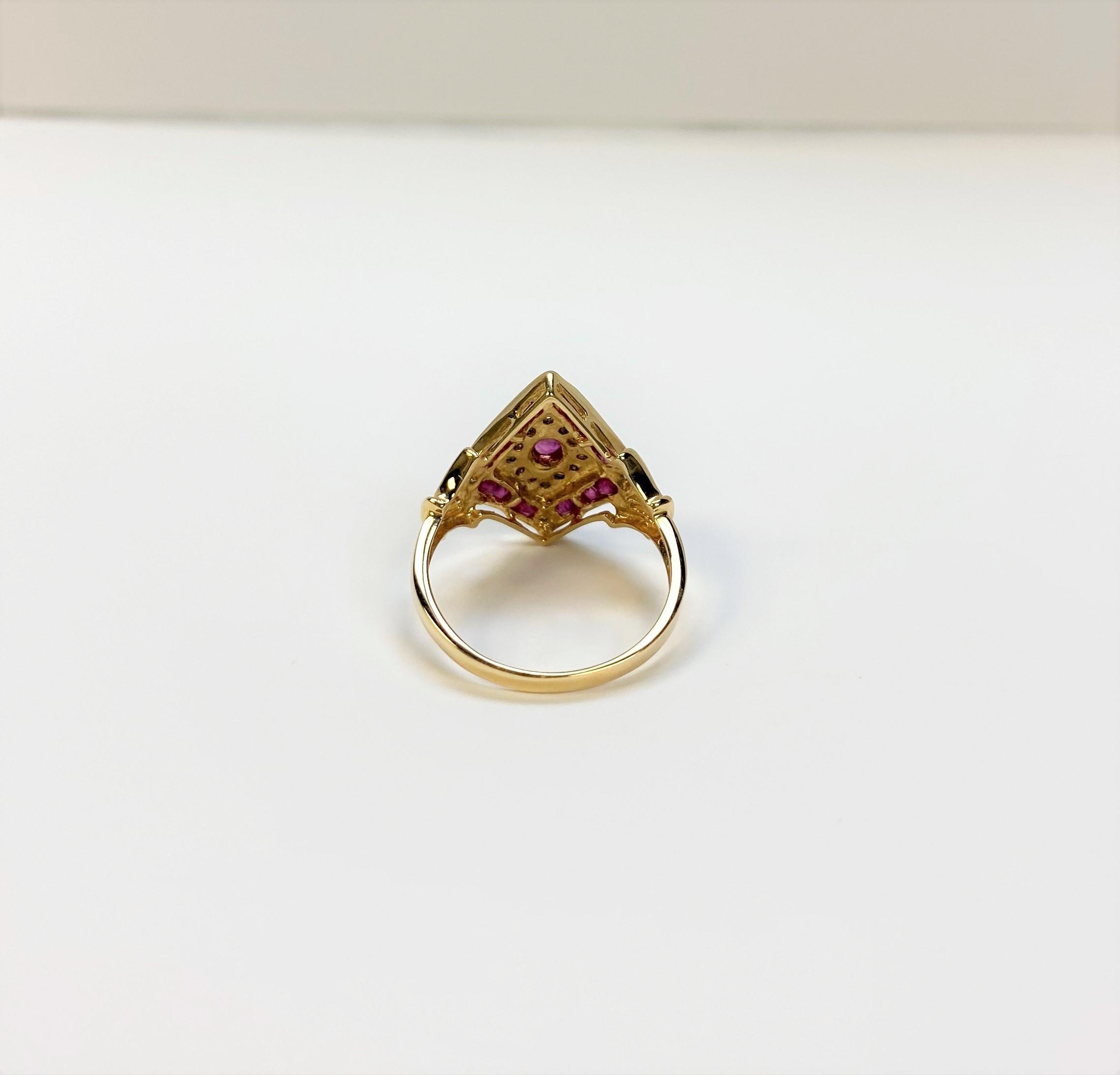 0.75 Carats Ruby Diamond Yellow Gold Ring