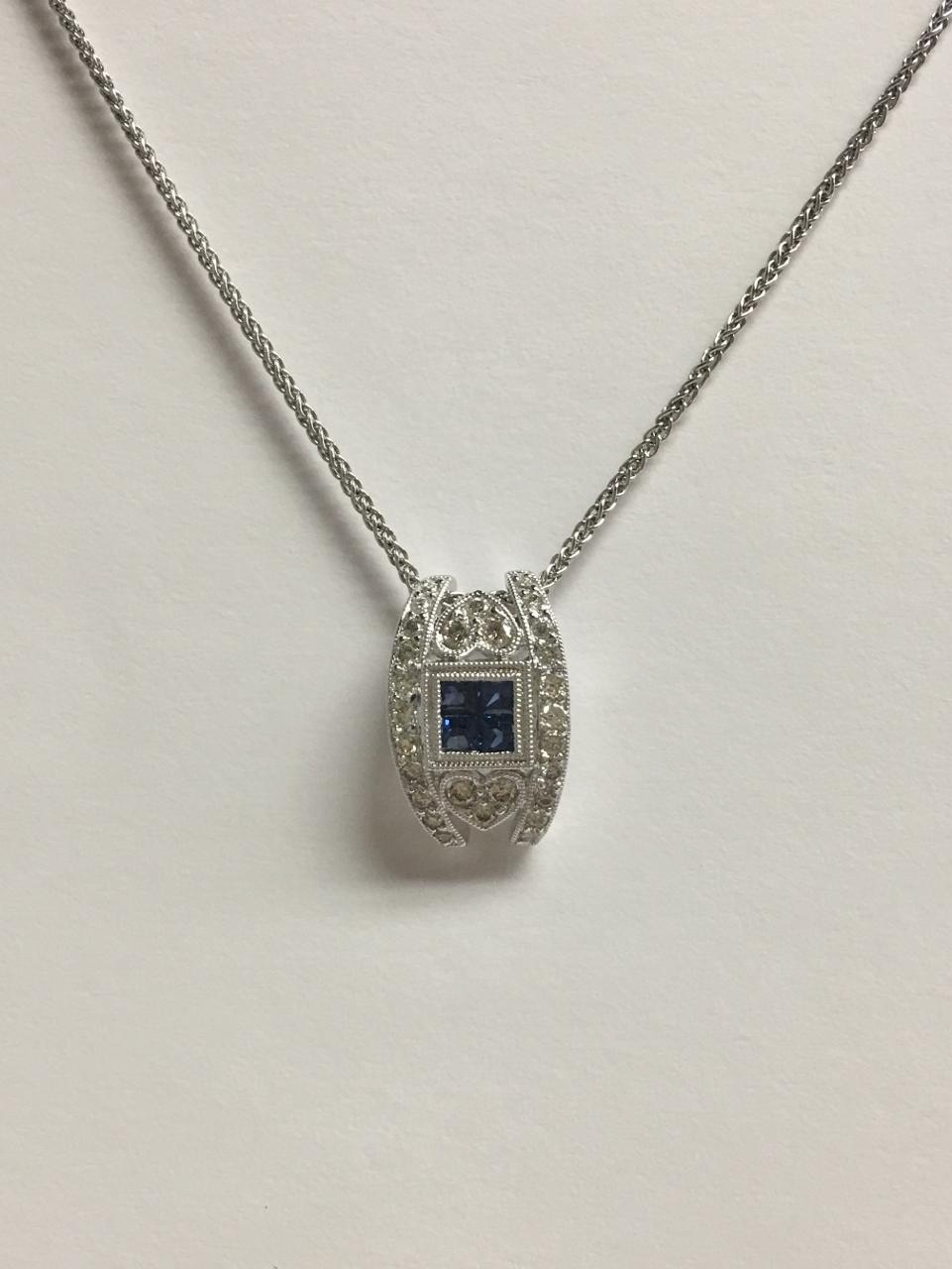 White Gold Sapphire Diamond Pendant