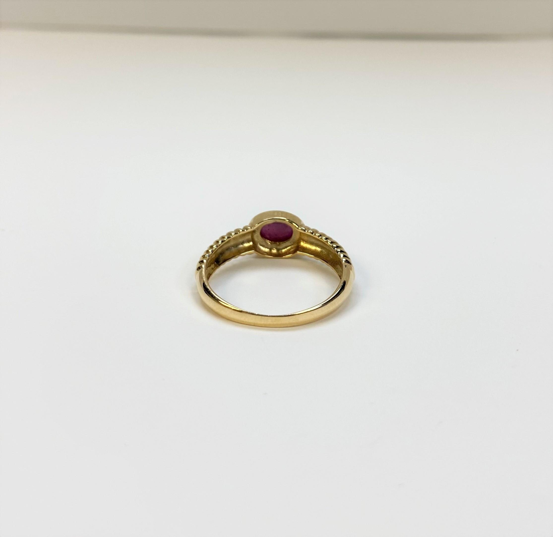 Quarter Carat Cabochon Ruby Ring