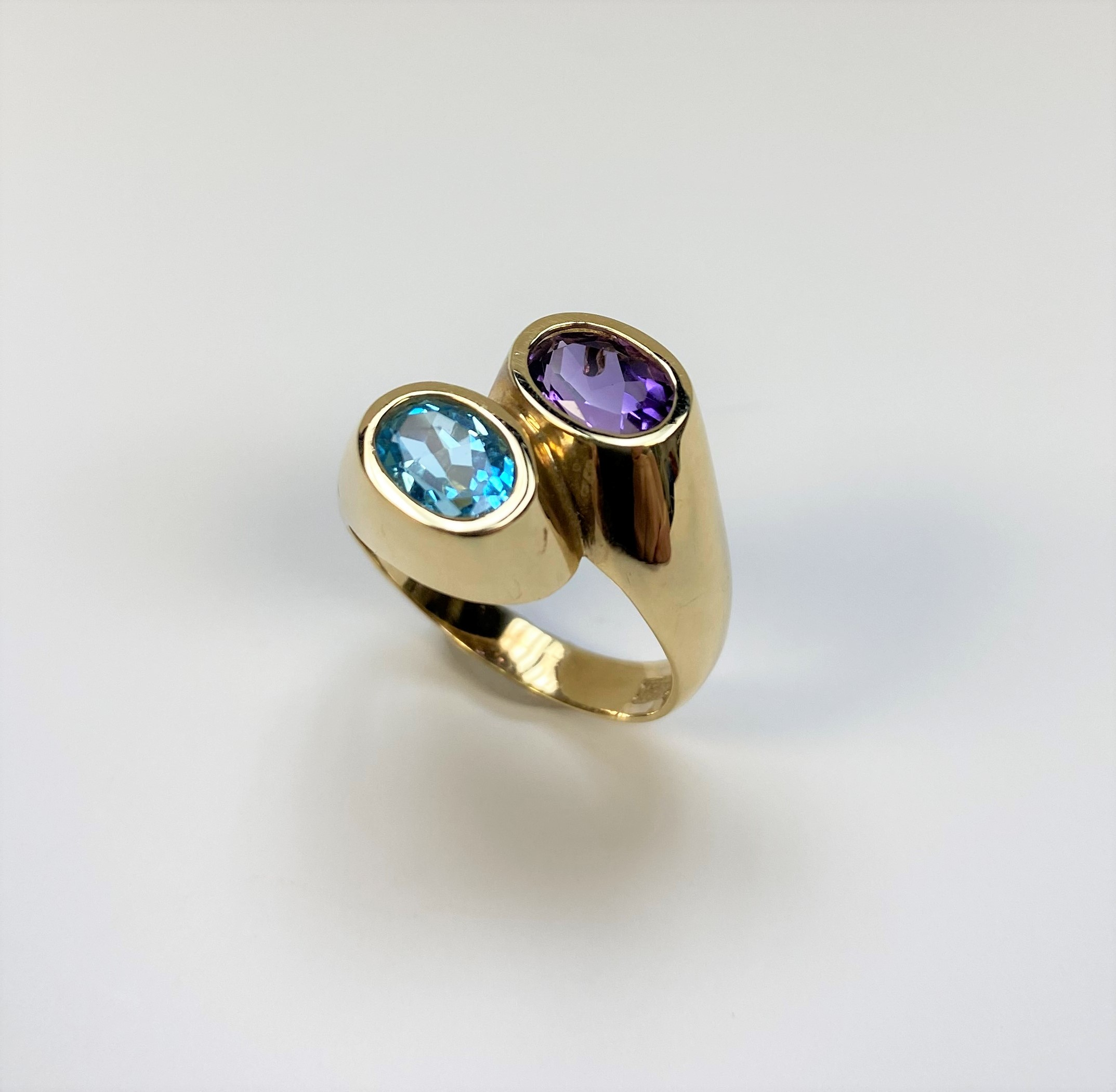 By-Pass Style Amethyst Topaz Ring