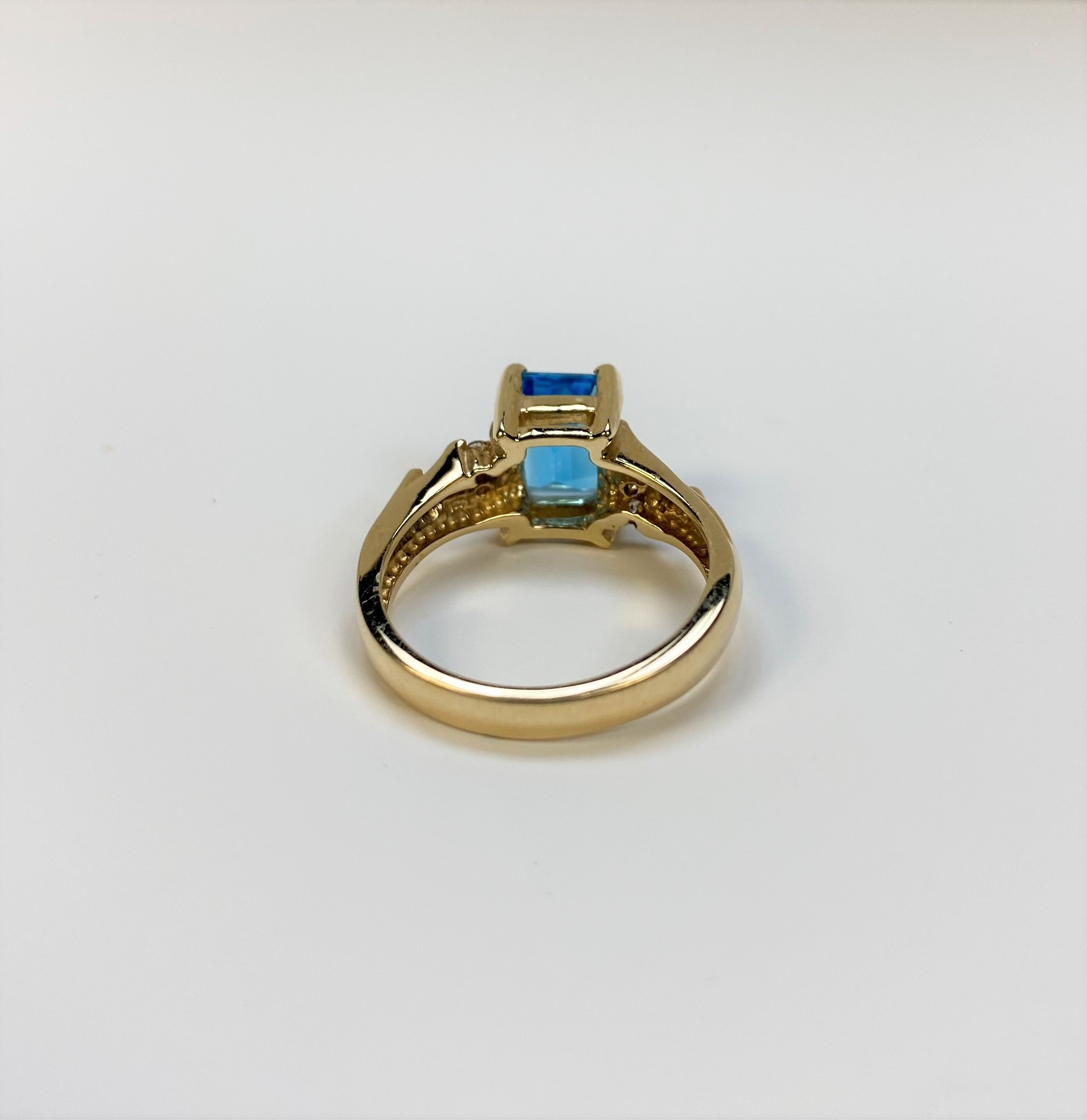 Over 1 Carat Blue Topaz Yellow Gold Ring