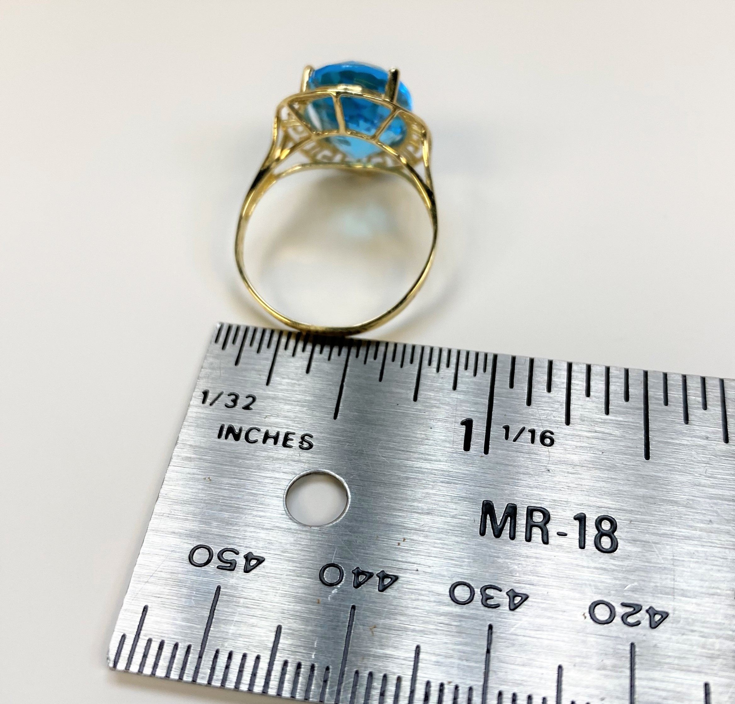 Oriental Style Blue Topaz Yellow Gold Ring