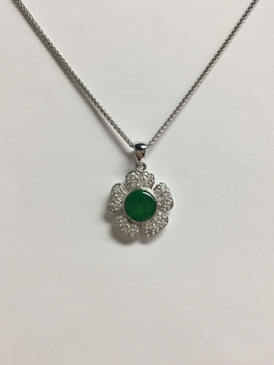 Floral Design Jade & Diamond Pendant