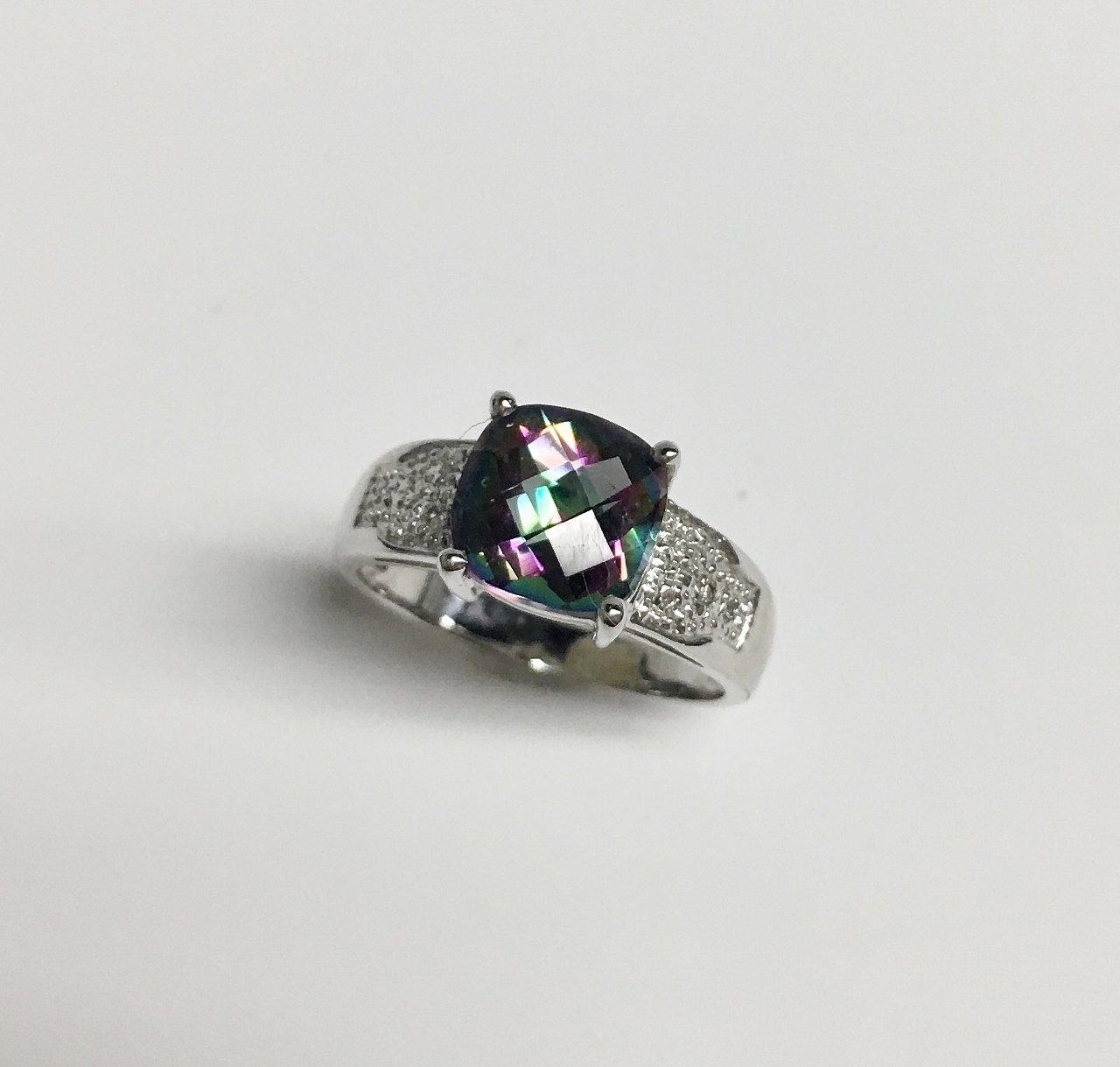 Mystic Topaz White Gold Ring
