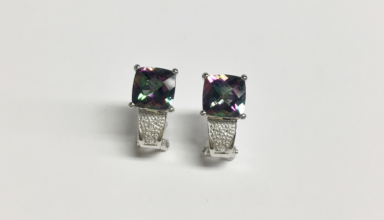 Mystic Topaz Earrings in White Gold