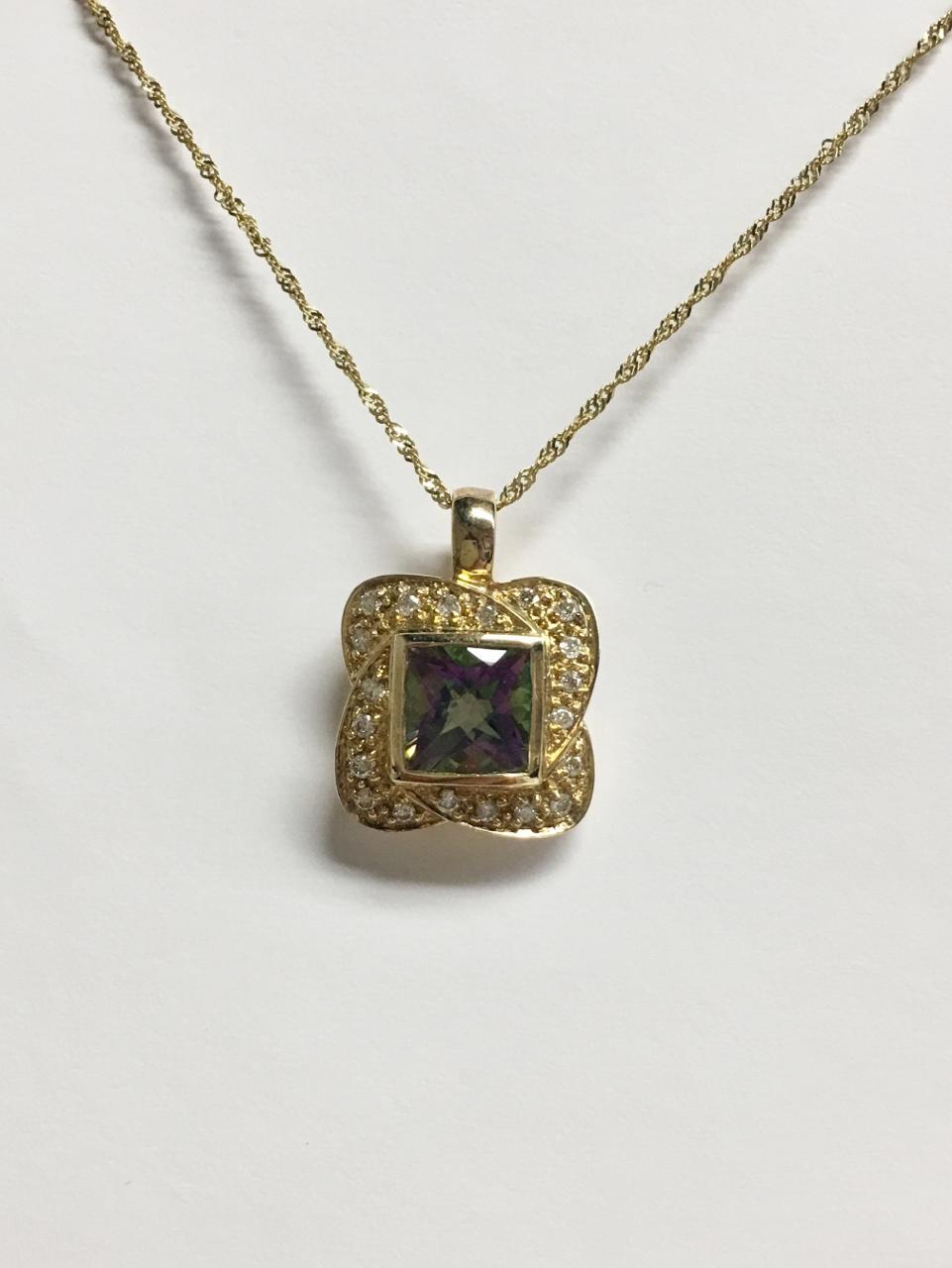 2 Carats Mystic Topaz & Diamond Pendant