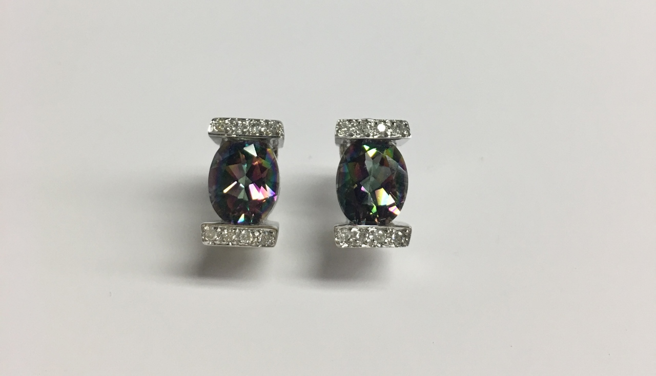 Mystic Topaz White Gold Earrings