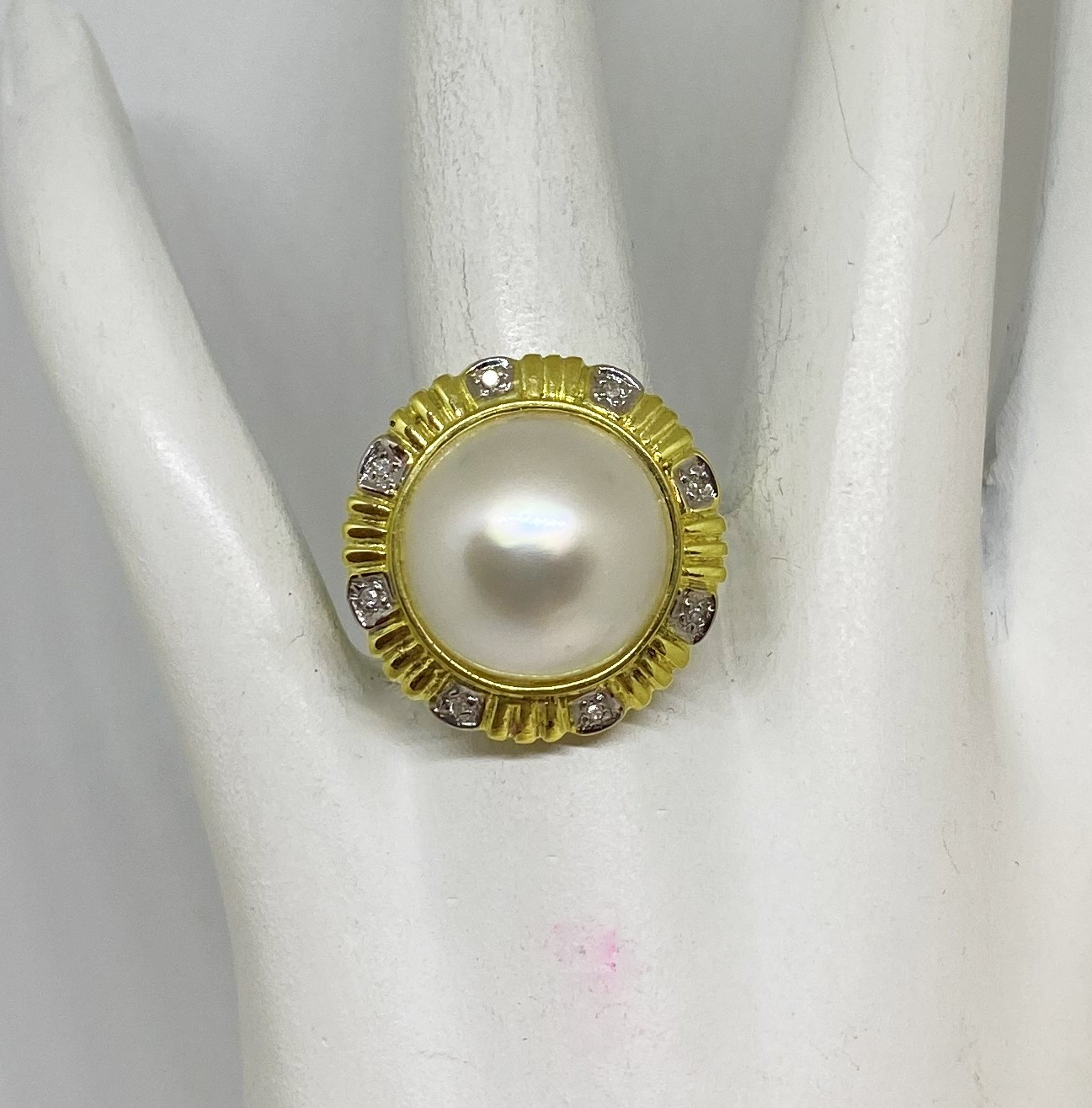 Mother Of Pearl Diamond Yellow Gold Ring