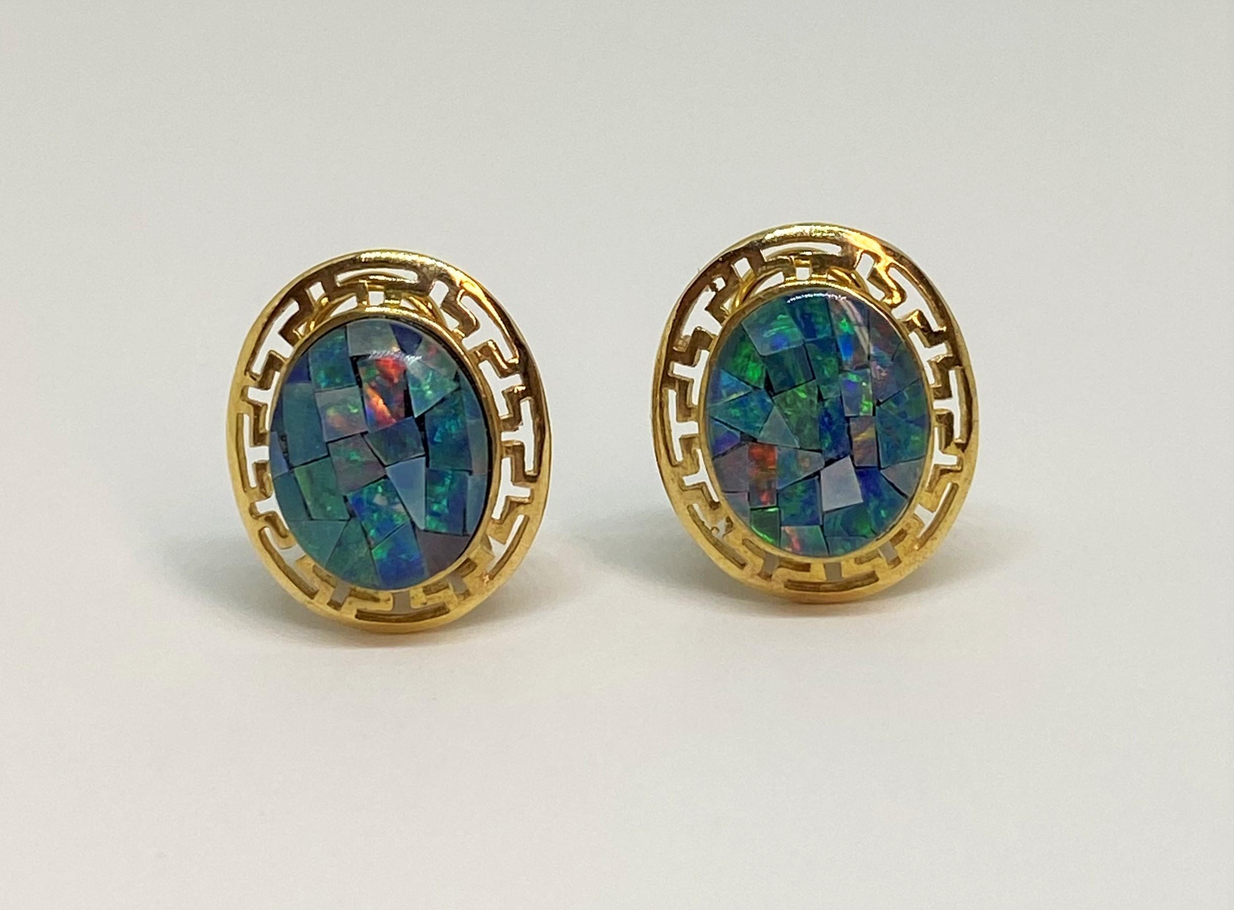 Mosaic Style Opal Yellow Gold Earrings