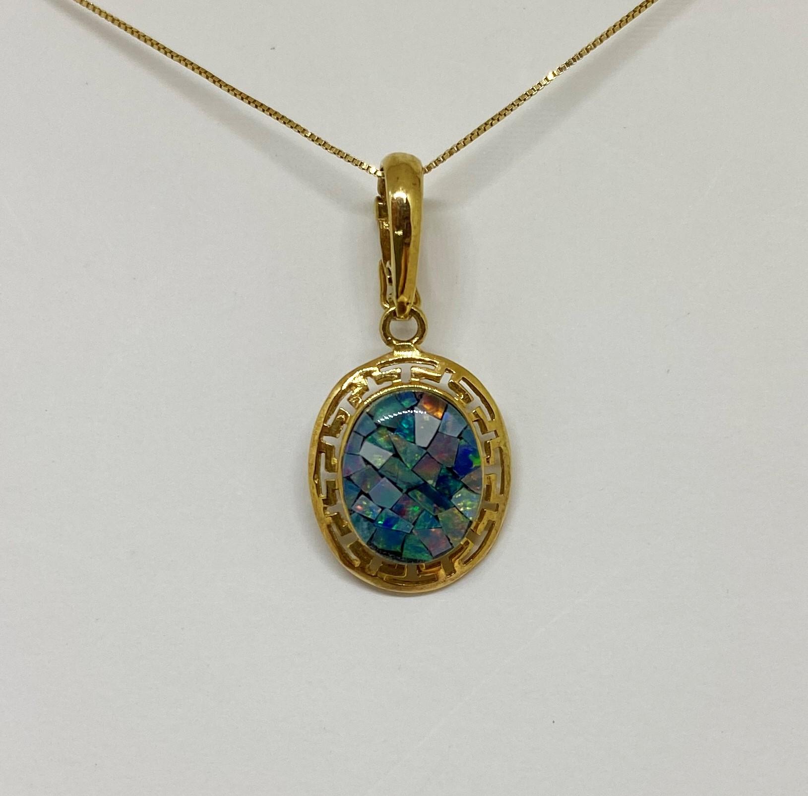 Mosaic Style Opal Pendant/Enhancer