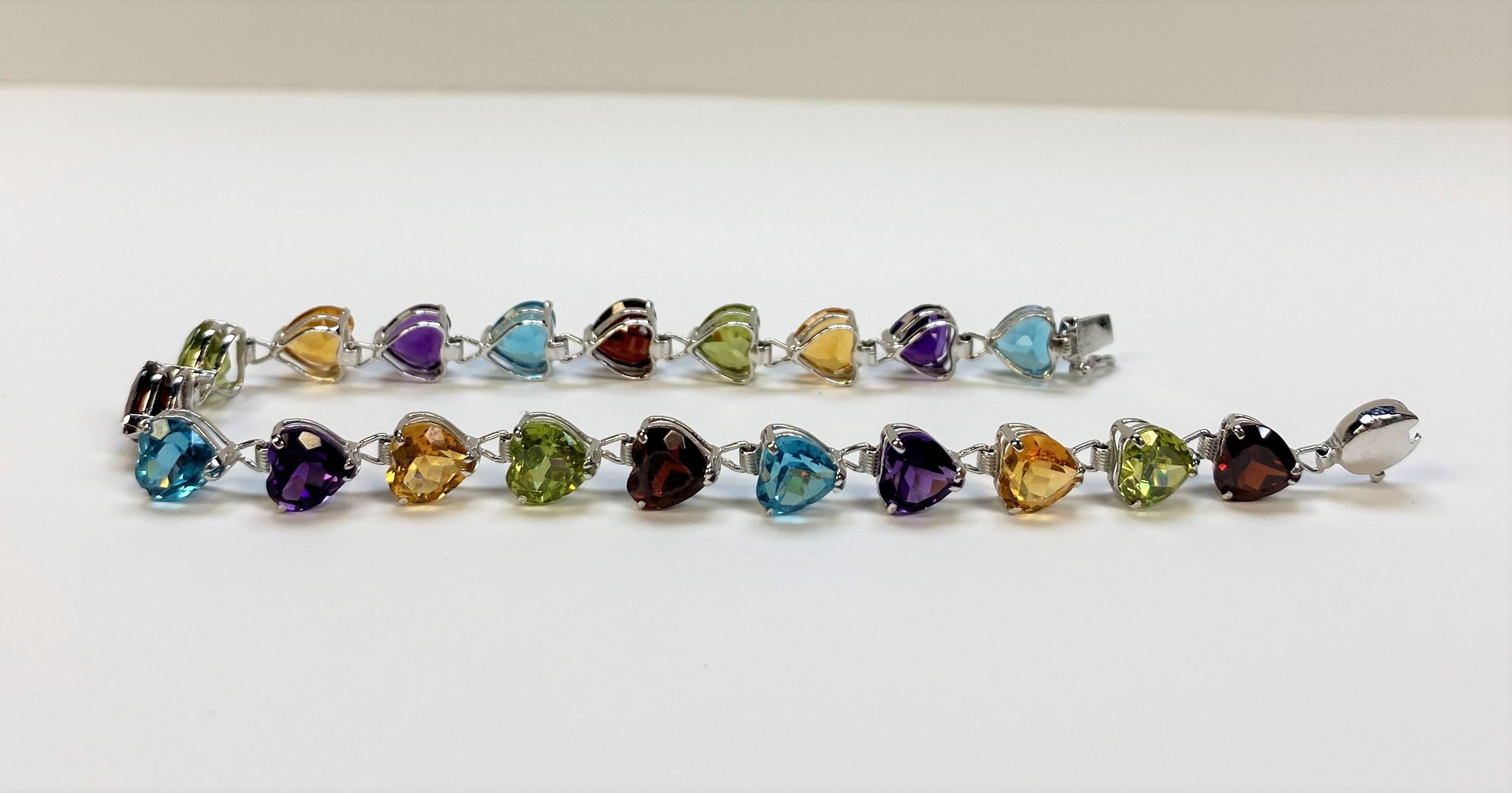 Heart Shape Multi-Color Gemstone Bracelet