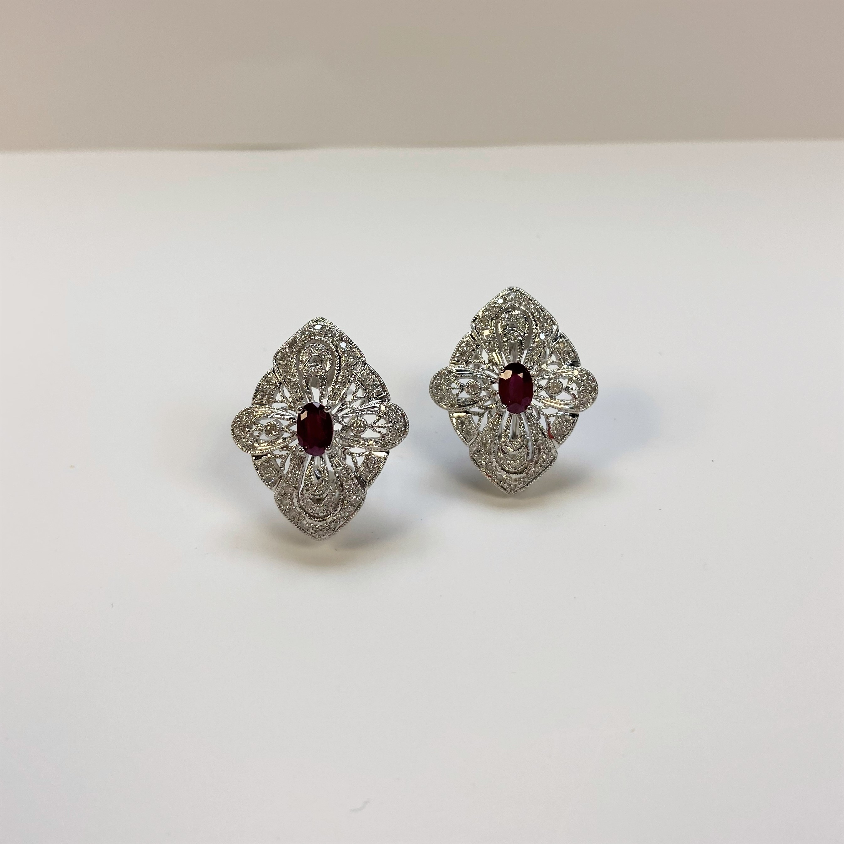 0.75 Carats Total Weight Ruby Diamond Earrings